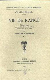 Vie de Rancé - Couverture - Format classique