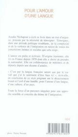 Pour l'amour d'une langue ; lettre ouverte d'une immigrée