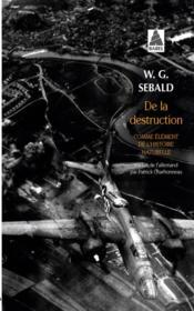 De la destruction comme élément de l'histoire naturelle - Couverture - Format classique