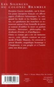Les silences du Colonel Bramble ; en retrouvant le général Bramble - 4ème de couverture - Format classique