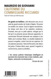 L'automne du commissaire Ricciardi - 4ème de couverture - Format classique