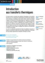 Introduction aux transferts thermiques (3e édition) - 4ème de couverture - Format classique