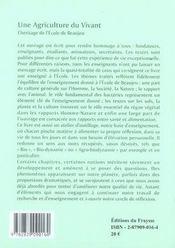 Une agriculture du vivant ; l'héritage de l'école de beaujeu - 4ème de couverture - Format classique
