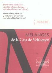 Revue mélanges N.36/1 ; transitions politiques et culturelles en Europe méridionale (XIXe - XXe siècle) - Intérieur - Format classique