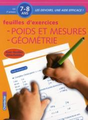 Poids et mesures, géométrie ; CE1, 2e primaire ; feuilles d'exercices - Couverture - Format classique