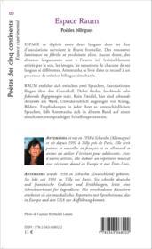 Espace raum ; poésies bilingues francais allemand - Couverture - Format classique