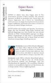 Espace raum ; poésies bilingues francais allemand - 4ème de couverture - Format classique