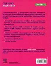 Concours ATSEM/ASEM ; concours externe, interne et 3e voie ; fonction publique territoriale et Ville de Paris (édition 2021/2022) - 4ème de couverture - Format classique