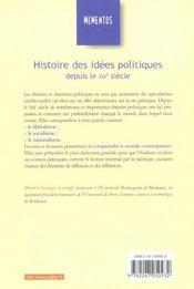 Histoire Des Idees Politiques Depuis Le Xix Siecle ; 8e Edition - 4ème de couverture - Format classique