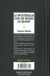 Le Mysterieux Car De Moins Le Quart - 4ème de couverture - Format classique