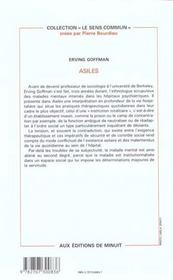 Asiles Goffman - 4ème de couverture - Format classique