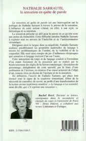 Nathalie Sarraute ; La Sensation En Quete De Parole - 4ème de couverture - Format classique