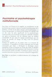 Psychiatrie et psychotherapie institutionnelle - 4ème de couverture - Format classique