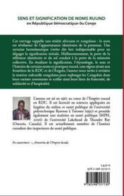 Sens et signification de noms ruund en République démocratique du Congo ; esquisse historique et étymologique - 4ème de couverture - Format classique