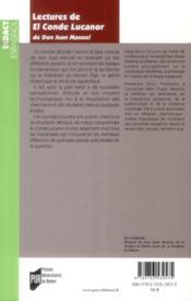 Lectures de El Conde Lucanor de Don Juan Manuel - 4ème de couverture - Format classique