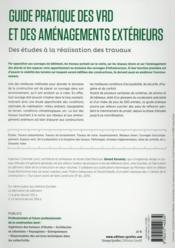 Guide pratique des VRD et aménagements extérieurs ; des études à la réalisation des travaux - 4ème de couverture - Format classique