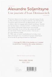 Une journée d'Ivan Denissovitch - 4ème de couverture - Format classique