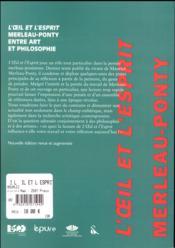 L' il et l'esprit: maurice merleau-ponty entre art et philoso phie - 4ème de couverture - Format classique