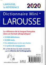 Dictionnaire Larousse mini plus 2020 - 4ème de couverture - Format classique