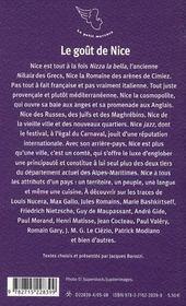 Le goût de Nice - 4ème de couverture - Format classique