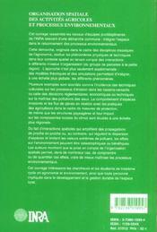 Organisation spatiale des activites agricoles et processus environnementaux - 4ème de couverture - Format classique
