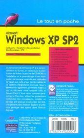 Windows xp sp2 - 4ème de couverture - Format classique