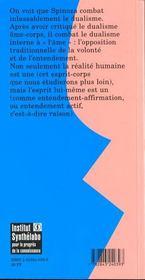 Le Corps Et L'Esprit Dans La Philosophie De Spinoza - 4ème de couverture - Format classique