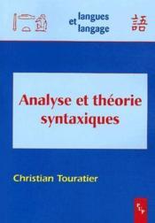 Analyse et théorie syntaxiques - Couverture - Format classique