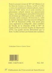 La belle et la bete quatre metamorphoses - 4ème de couverture - Format classique