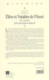Elites et notables dans l ouest de la france - 4ème de couverture - Format classique