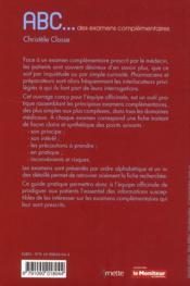 Abc Des Examens Complementaires - 4ème de couverture - Format classique