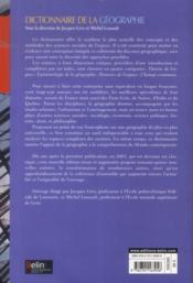 Dictionnaire de la géographie et de l'espace des sociétés - 4ème de couverture - Format classique