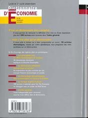 Dictionnaire D'Economie - 4ème de couverture - Format classique