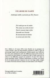 Une arche de clarte - 4ème de couverture - Format classique