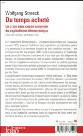 Du temps acheté ; la crise sans cesse ajournée du capitalisme démocratique - 4ème de couverture - Format classique