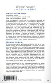 Auschwitz et après t.2 t.3 ; une connaissance inutile mesure de jours - 4ème de couverture - Format classique