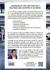 Réussir son investissement dans les parkings et les garages (4e édition) - 4ème de couverture - Format classique