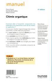 Mini manuel ; chimie organique ; cours + exercices (4e édition) - 4ème de couverture - Format classique