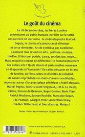 Le Gout Du Cinema - 4ème de couverture - Format classique
