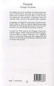 Faisant ; Groupe D'Artistes 1983-2036 - 4ème de couverture - Format classique