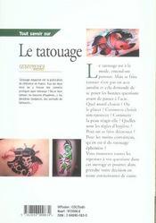 Tout Savoir Sur Le Tatouage - 4ème de couverture - Format classique
