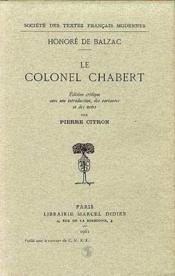 Le colonel Chabert - Couverture - Format classique