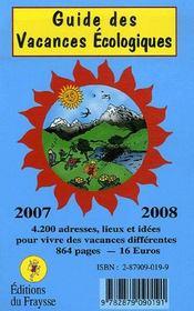 Guide des vacances écologiques (édition 2007-2008) - Intérieur - Format classique