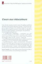 Cours aux éducateurs - 4ème de couverture - Format classique