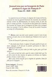 Journal t.2 ; tenu par un bourgeois de Paris pendant le règne de François Ier (1525-1536) - 4ème de couverture - Format classique