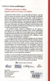 L'histoire nationale en débat ; regards croisés sur la France et le Québec - 4ème de couverture - Format classique