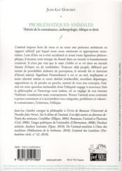Problématiques animales ; théorie de la connaissance, anthropologie, éthique et droit - 4ème de couverture - Format classique