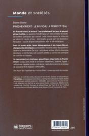 Proche-orient : le pouvoir, la terre et l'eau - 4ème de couverture - Format classique