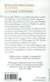 Le code d'Esther - 4ème de couverture - Format classique