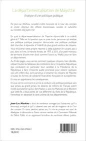 Départementalisation de Mayotte ; analyse d'une politque publique - Couverture - Format classique
